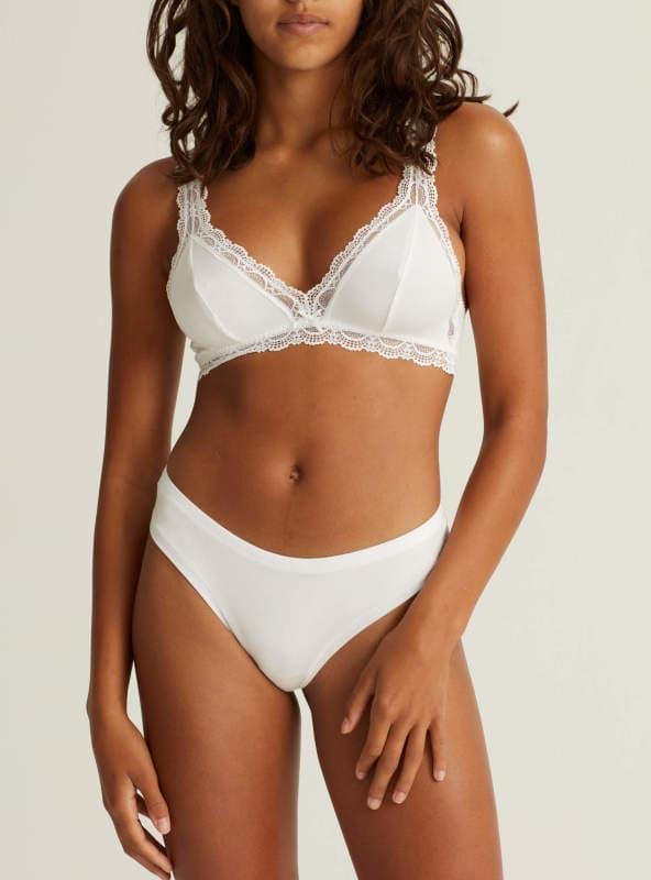 Lace trimmed soft-bra ONYX BRA- white woron