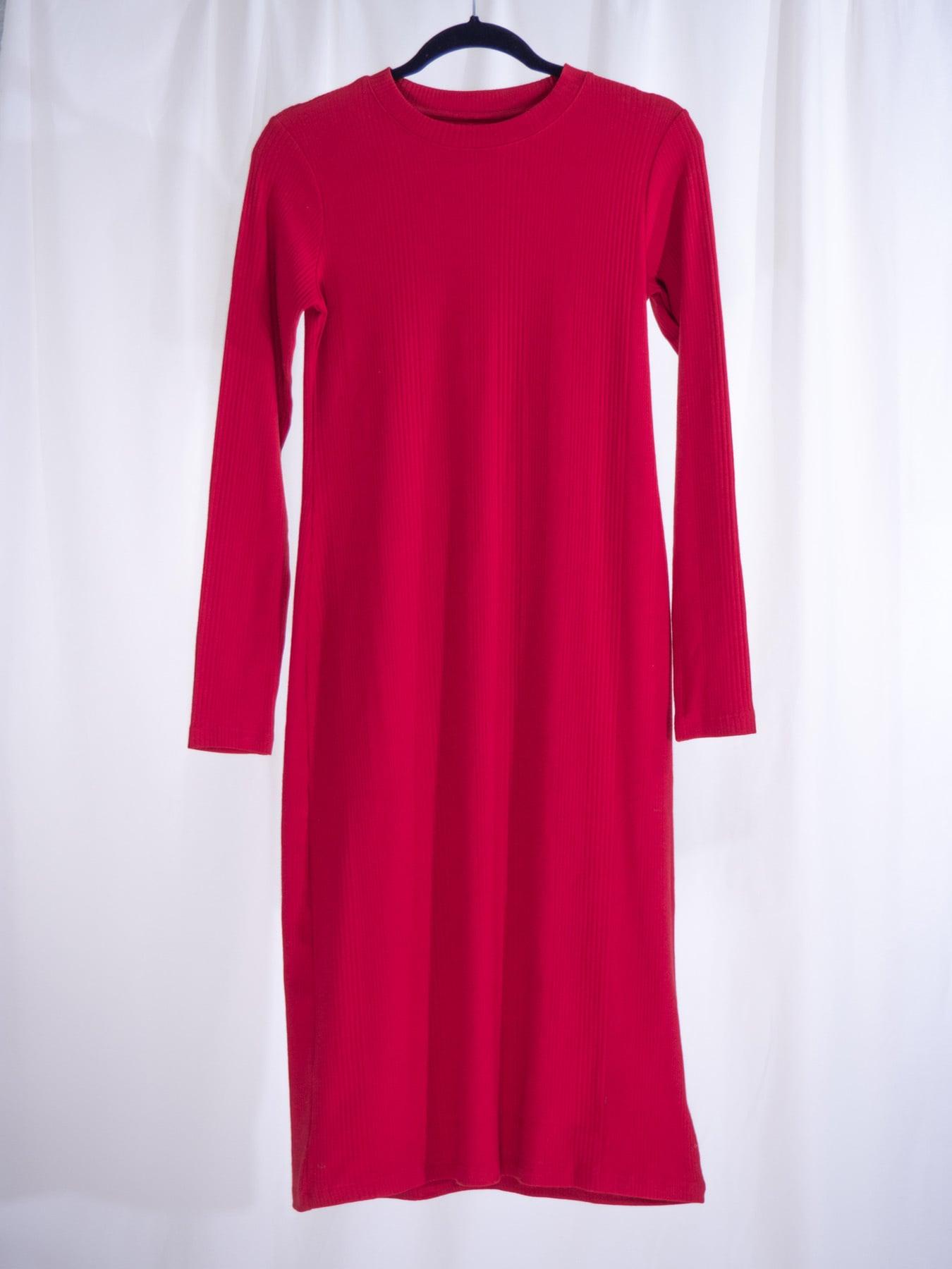 Ladder rib long sleeve dress