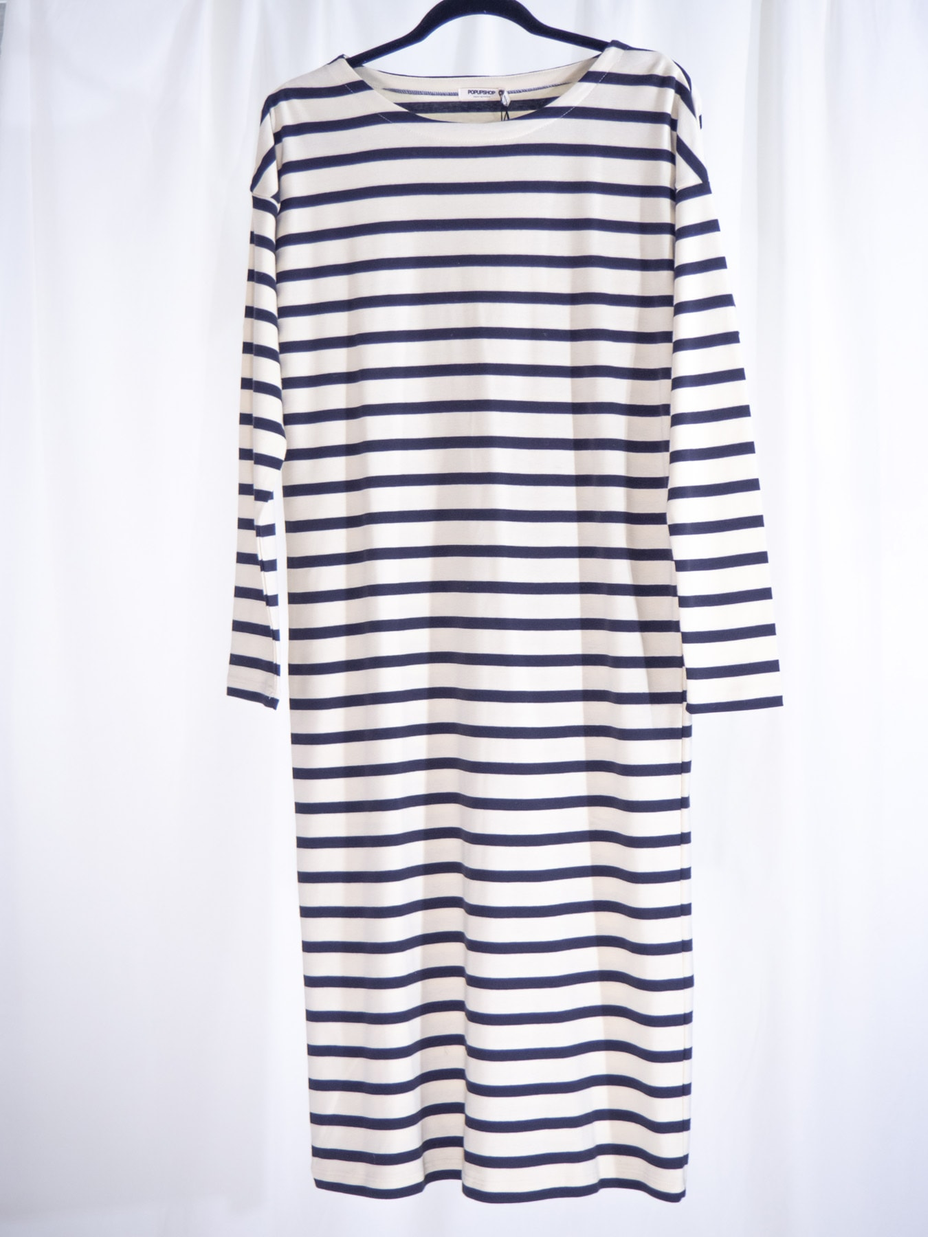 Off white with navy dress