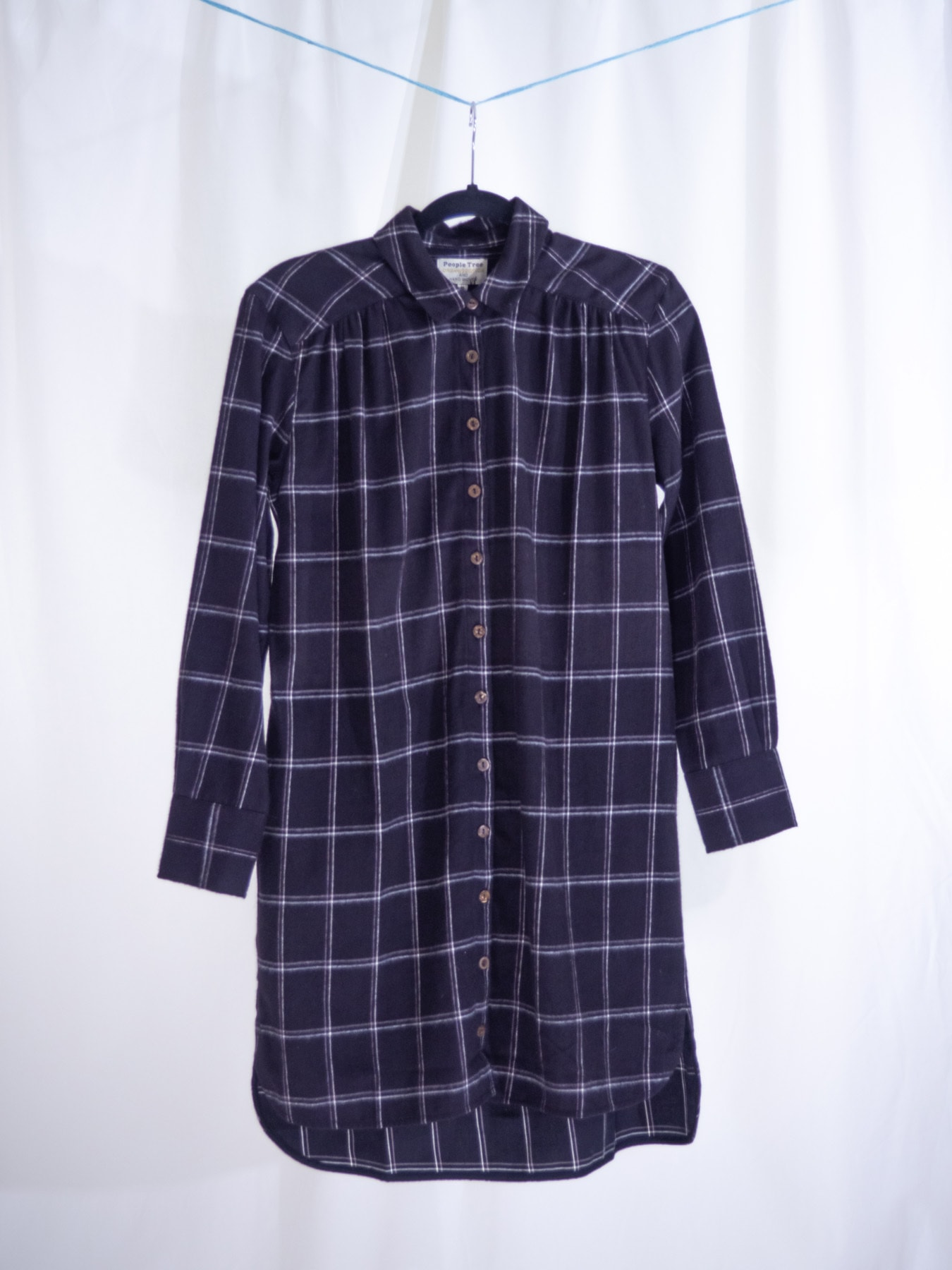 Jean check shirt dress