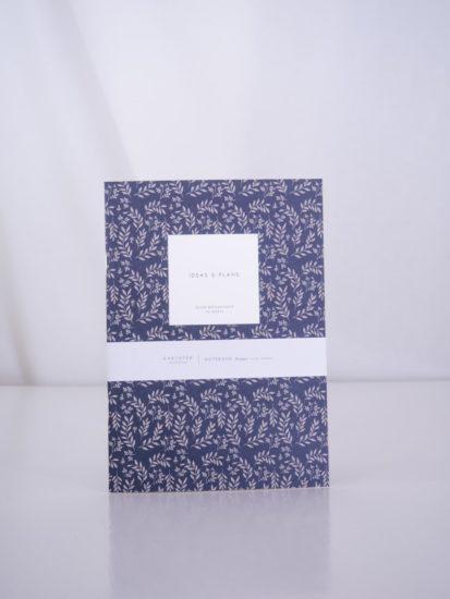 leaves navy notebook medium