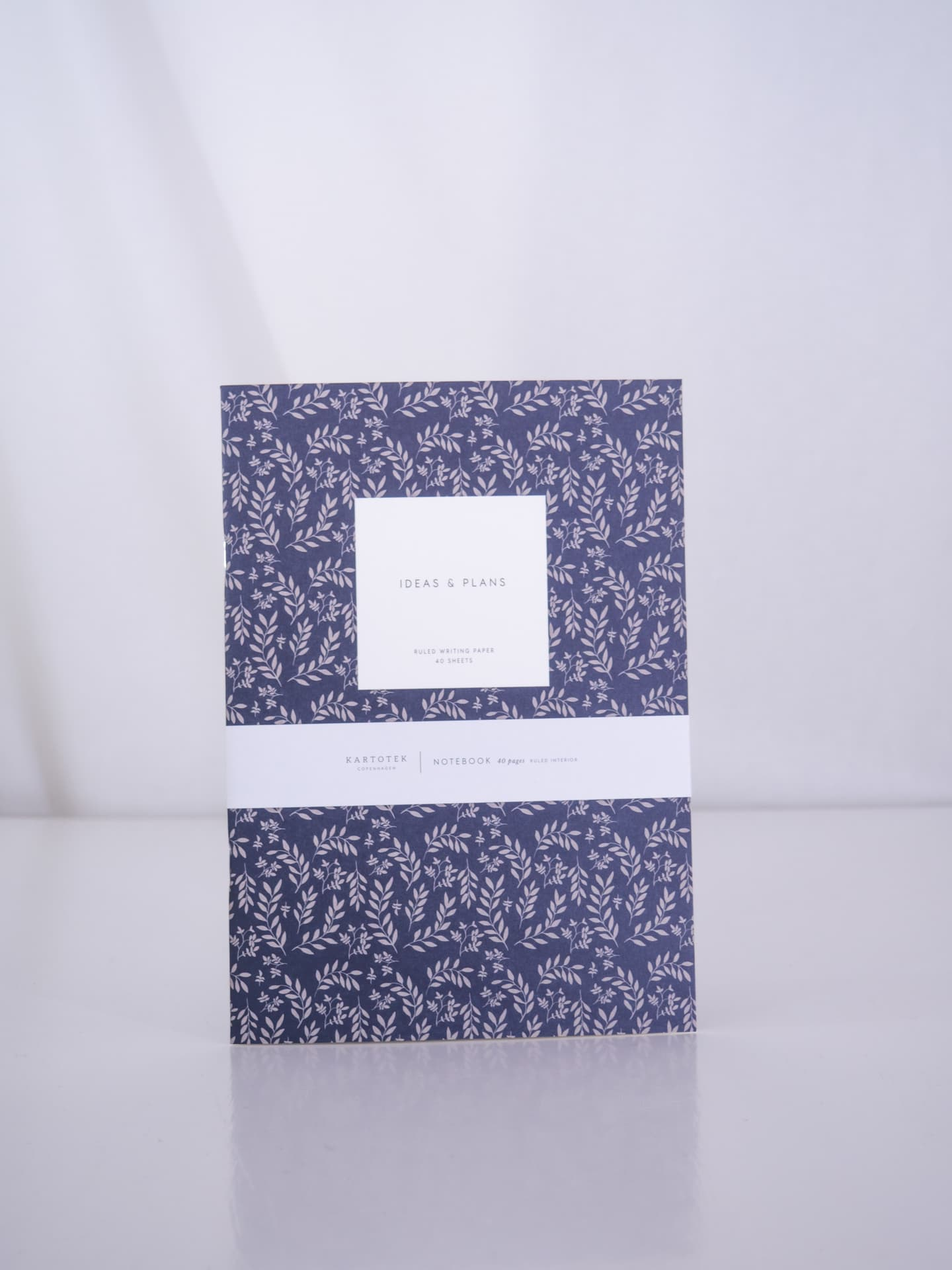 leaves navy notebook medium