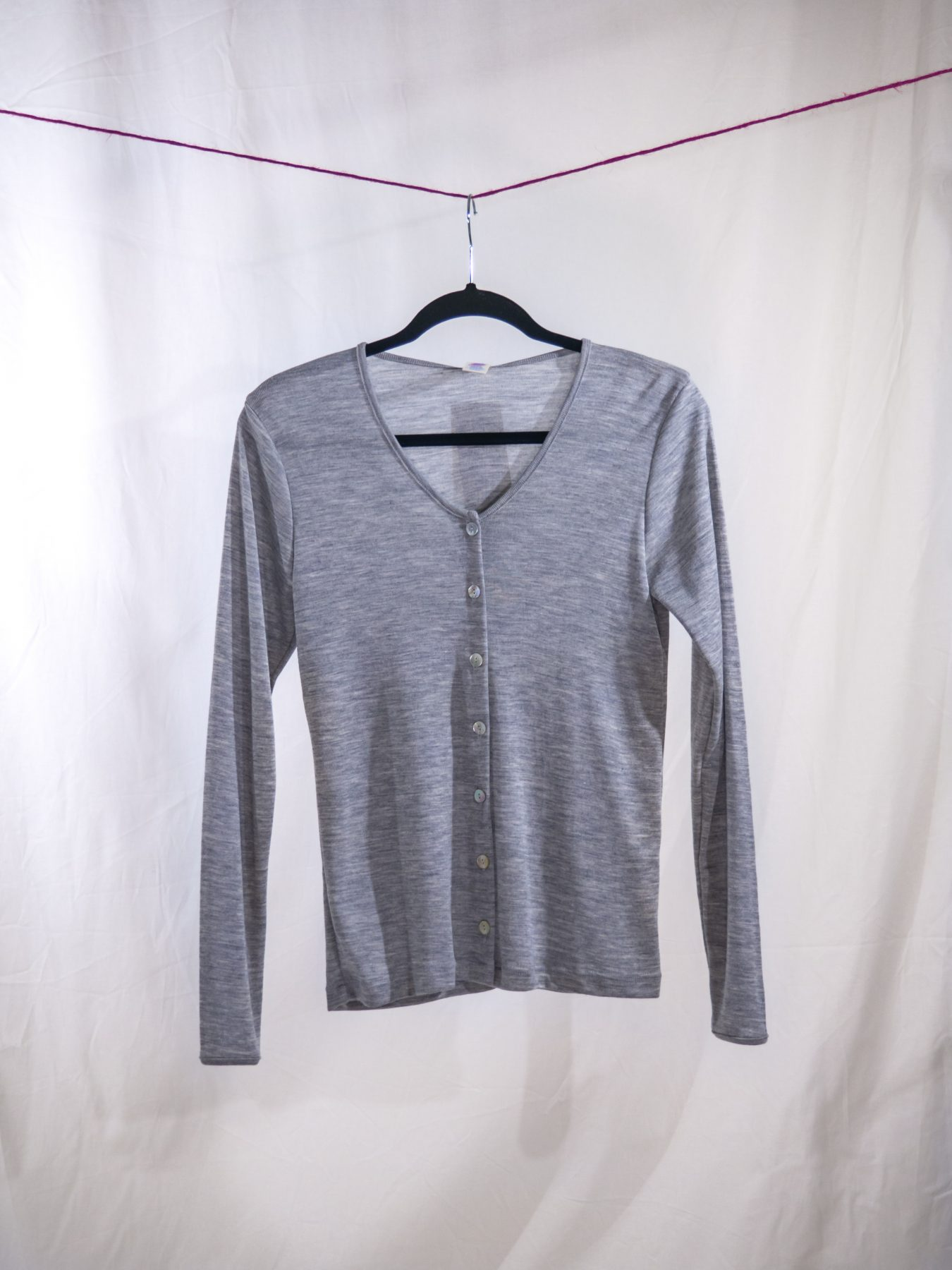 Fine rib cardigan grey