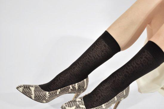 Emma leopard socks black