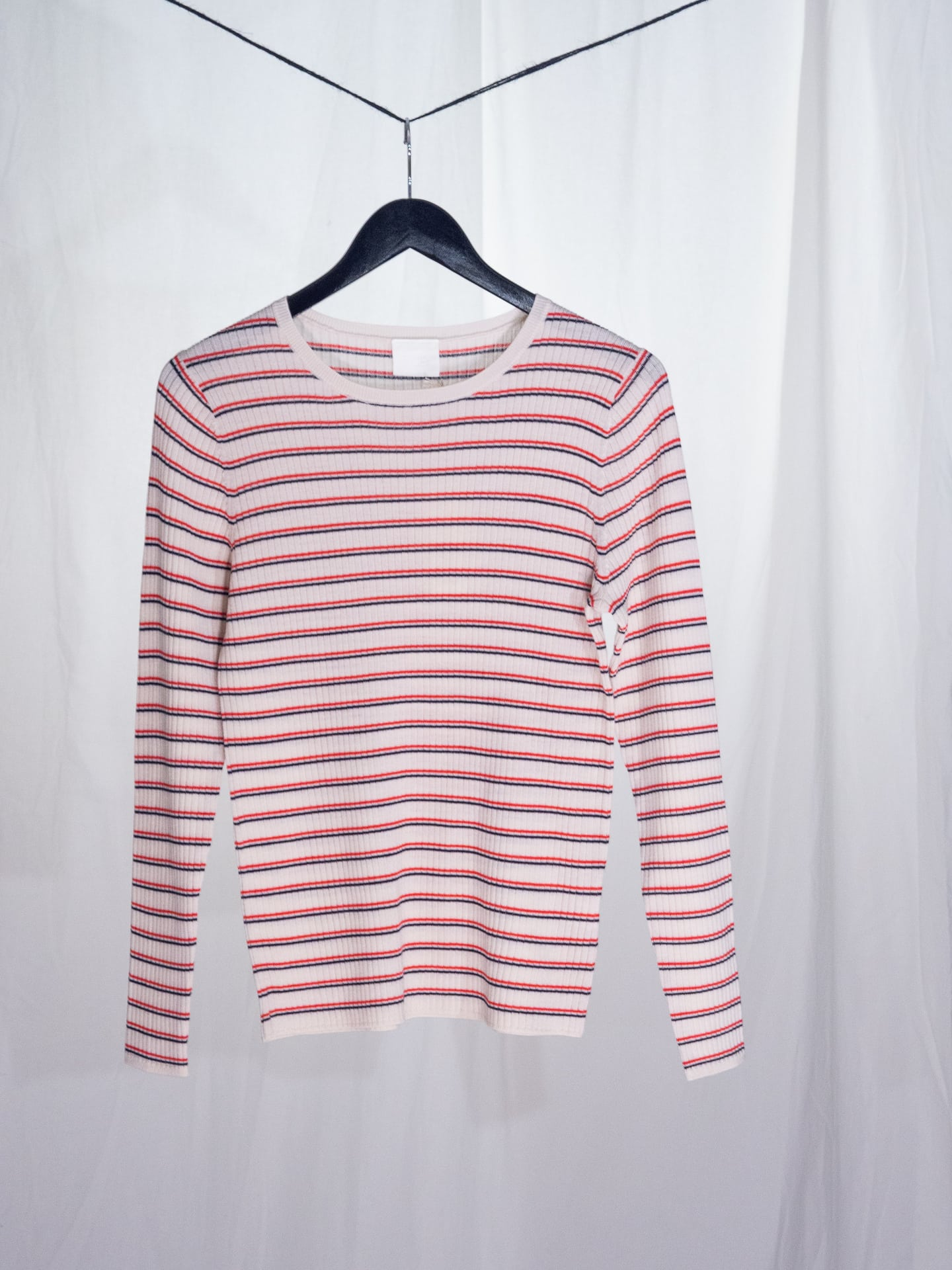 Wool rib blouse, ecru/navy/red