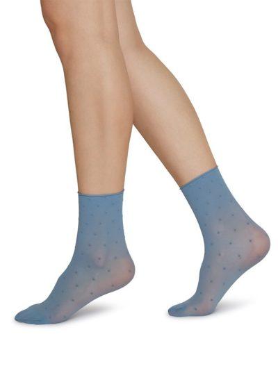 Judith dot socks dusty blue/ivory