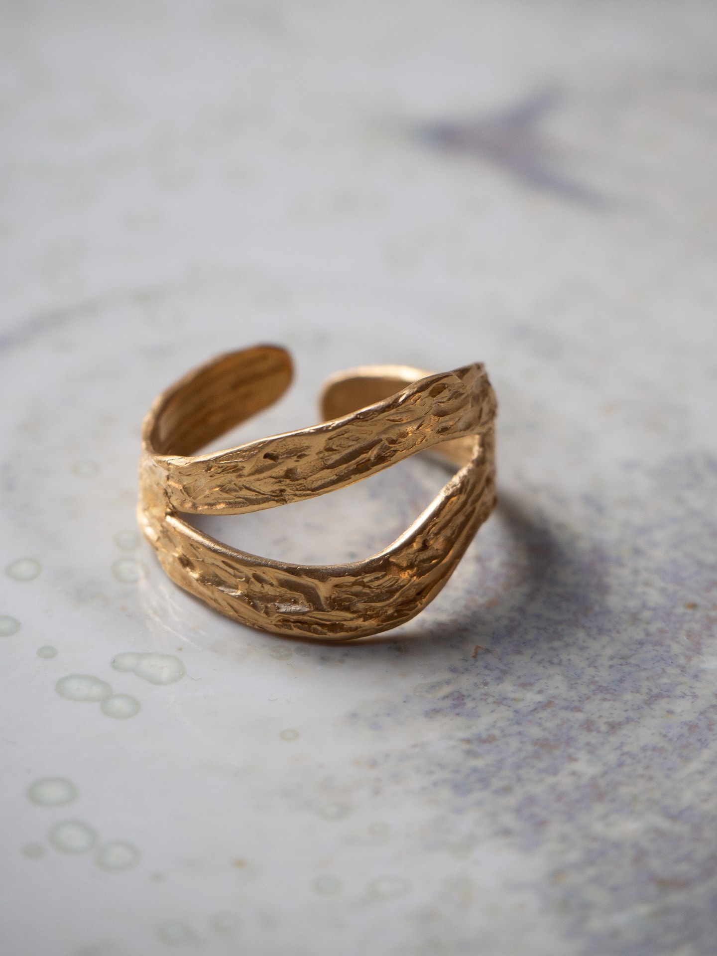 Oh my darling double wave gold ring