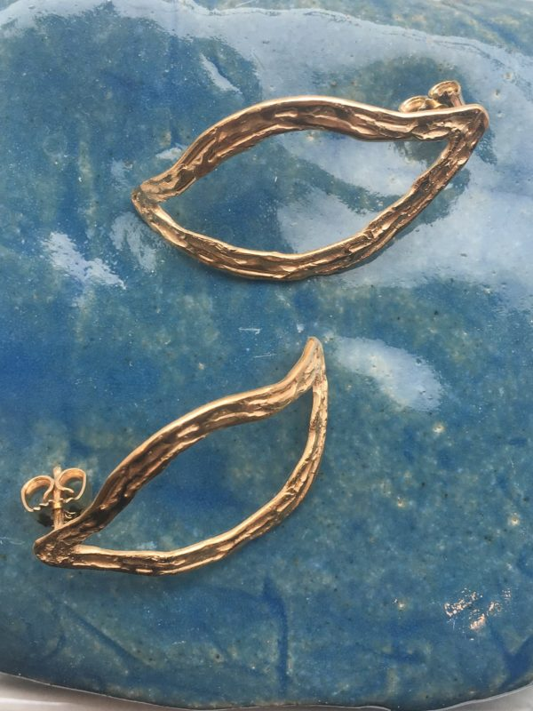 Oh my darling double wave gold earring