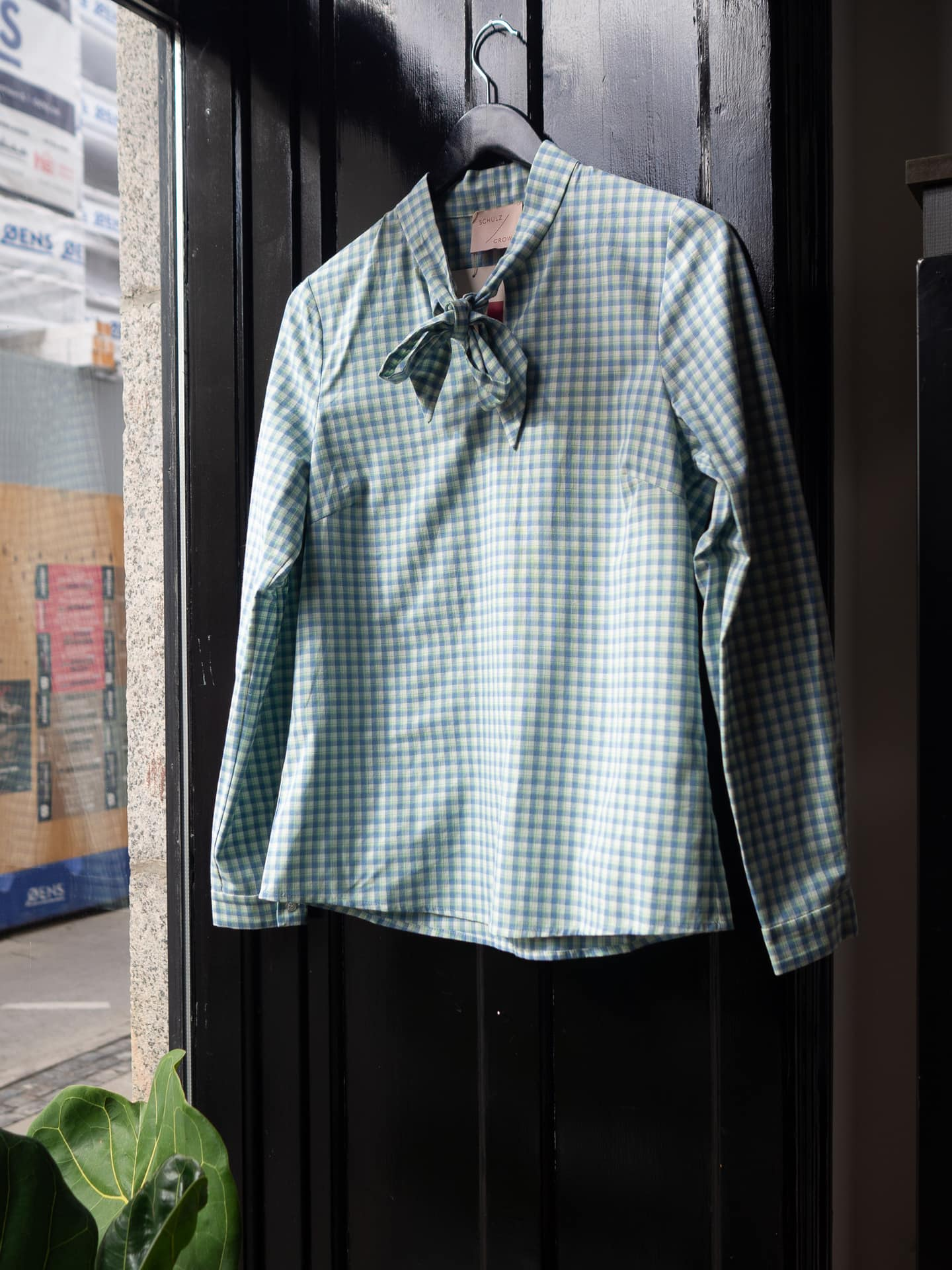 Berta blouse bluegreen checkred