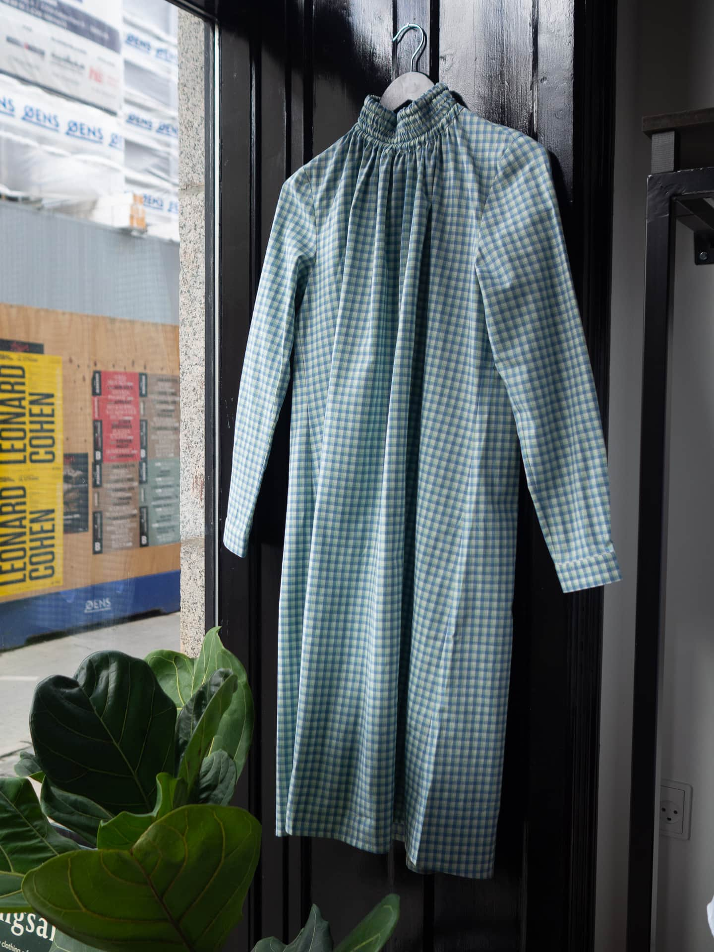 Dalia dress bluegreen checkred