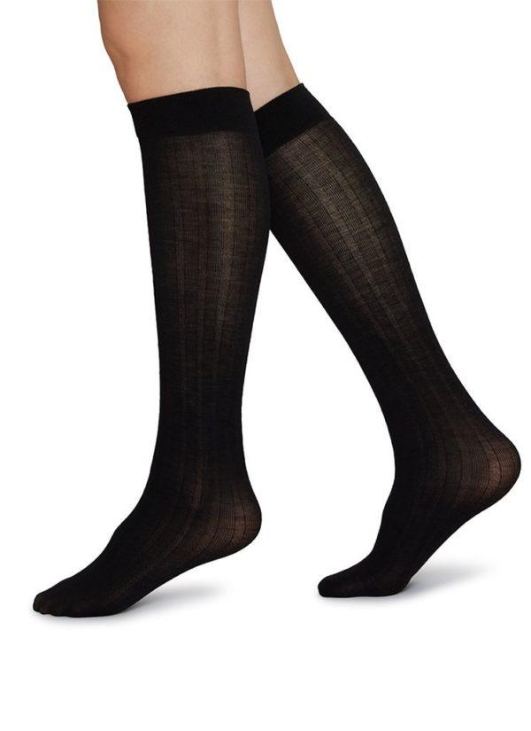 Freja bio wool knee-highs black