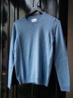 Women merino wool crew – stone blue
