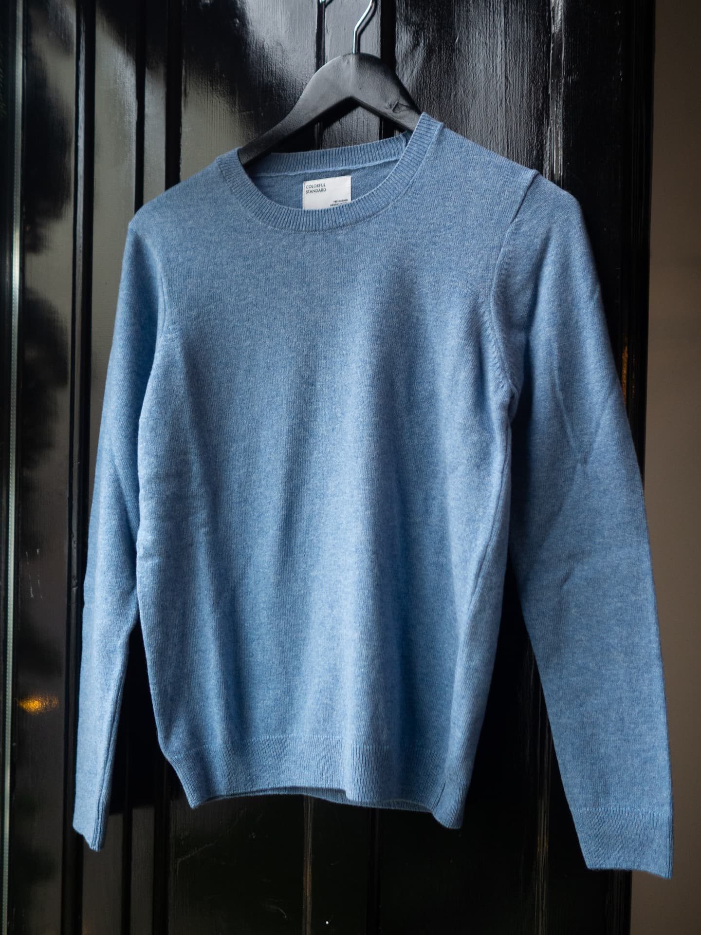 Women merino wool crew – stone blue