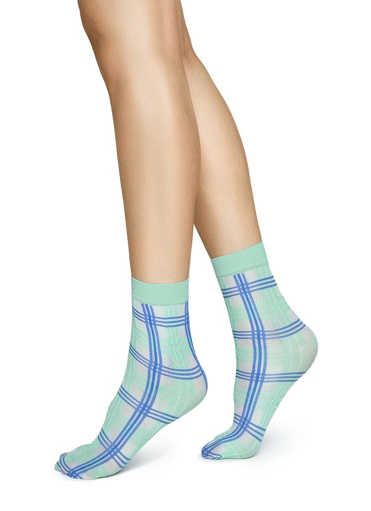 GRETA TARTAN SOCK GREEN/SEA BLUE