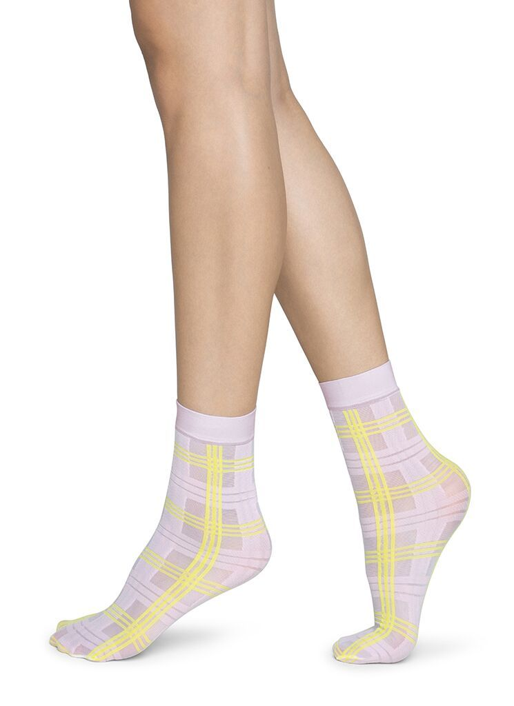 Greta tartan socks light pink / neon yellow