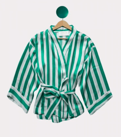 Candykimono, green and white stripes