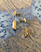 Double ovoid earrings gold plated