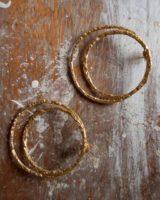 Rock on double loop earrings gold