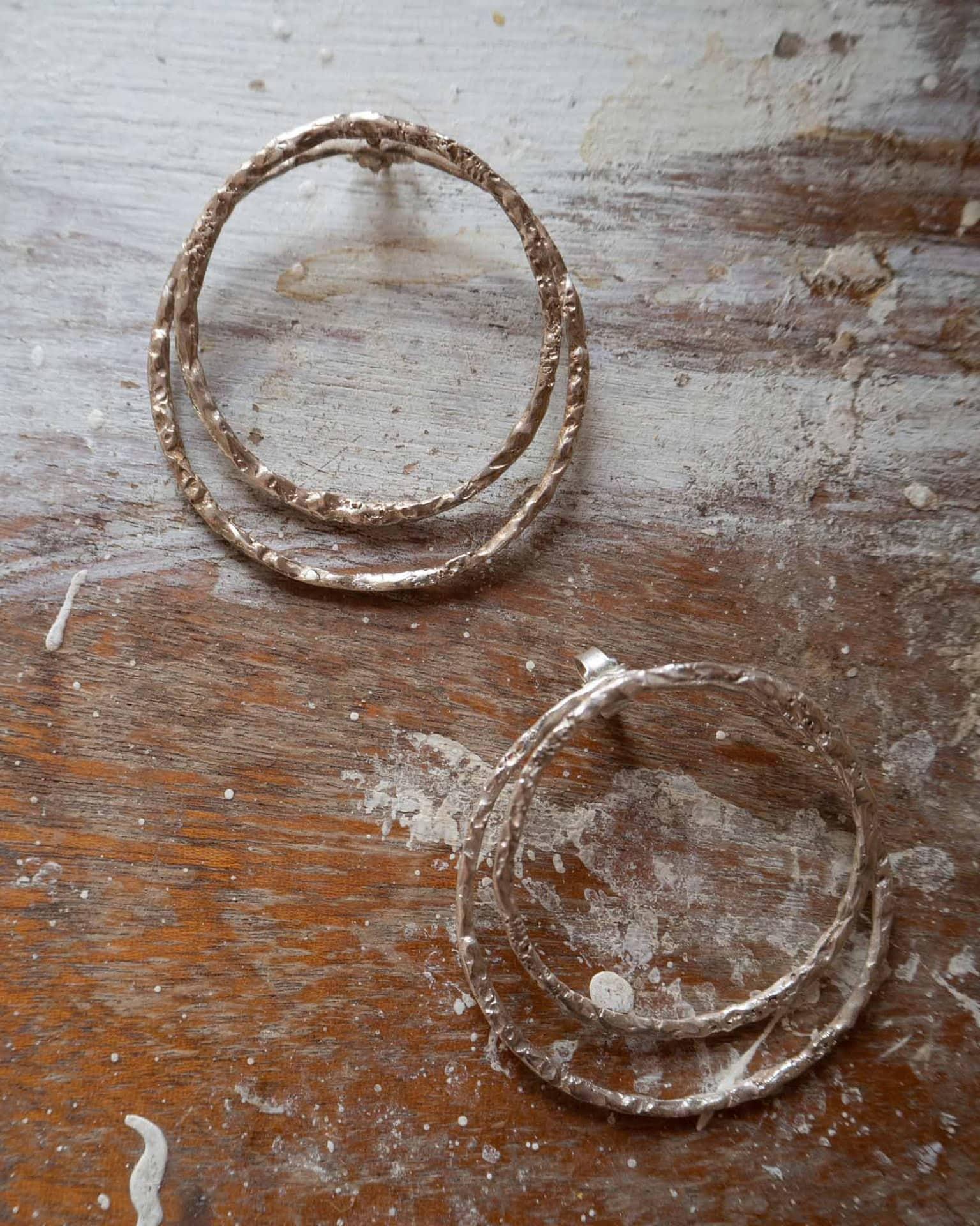 Rock on double loop earrings silver