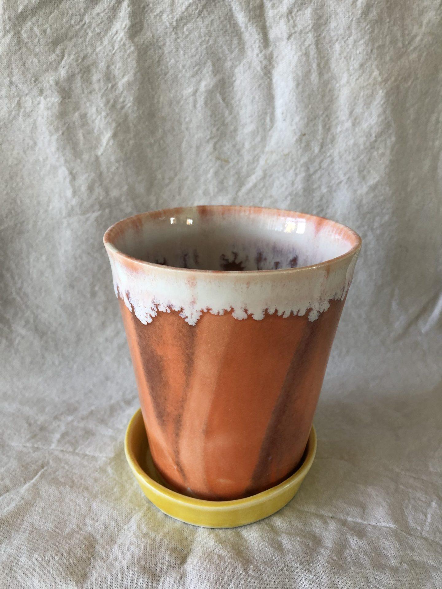 Keramik urtepotte rustorange