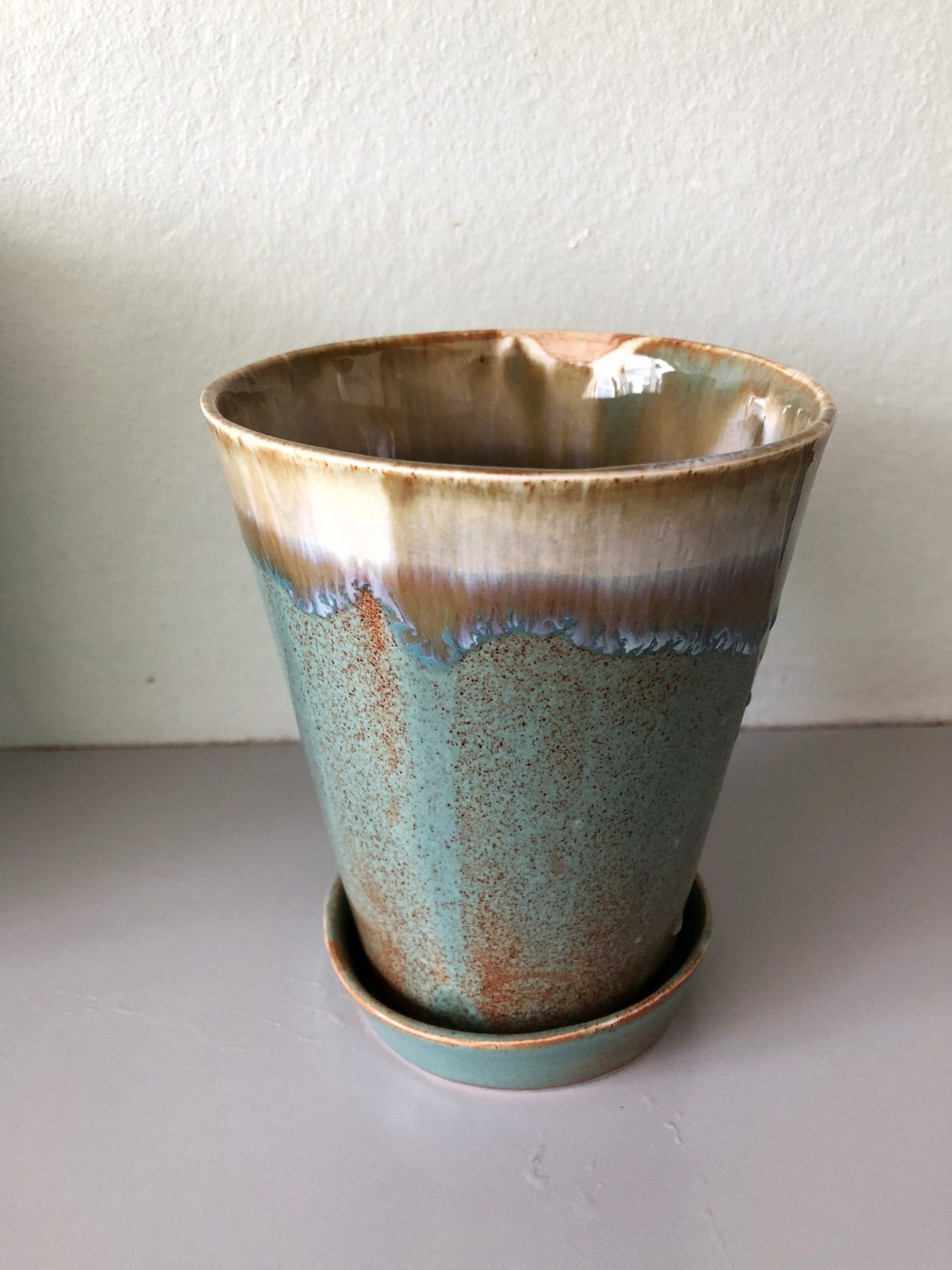 Keramik urtepotte brun og blå