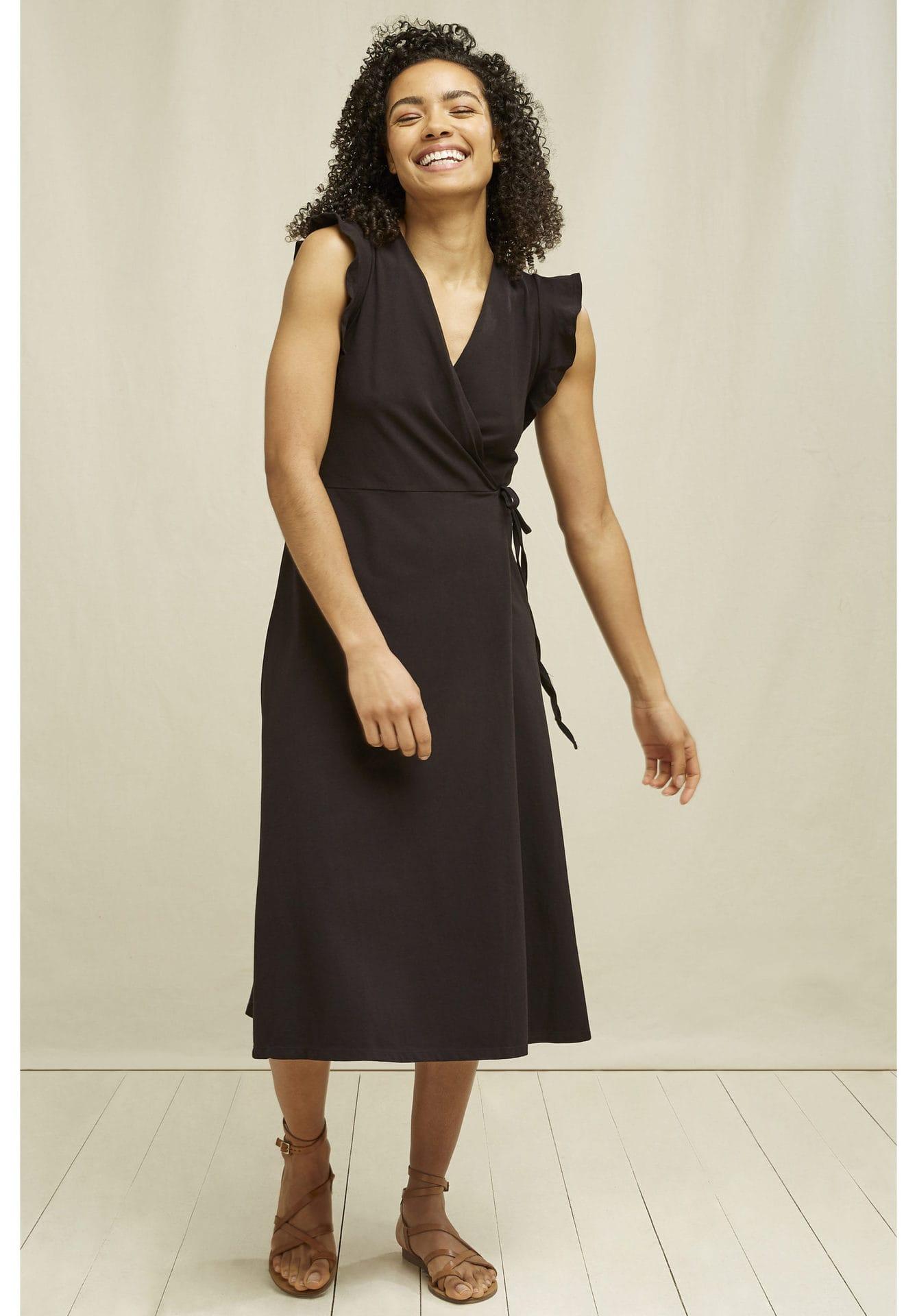 Melanie Wrap Dress in Black