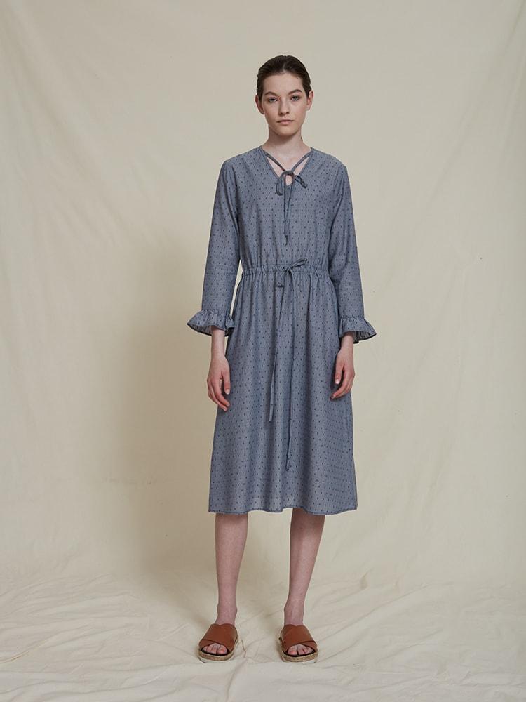 Dicte organic cotton dress blue dot