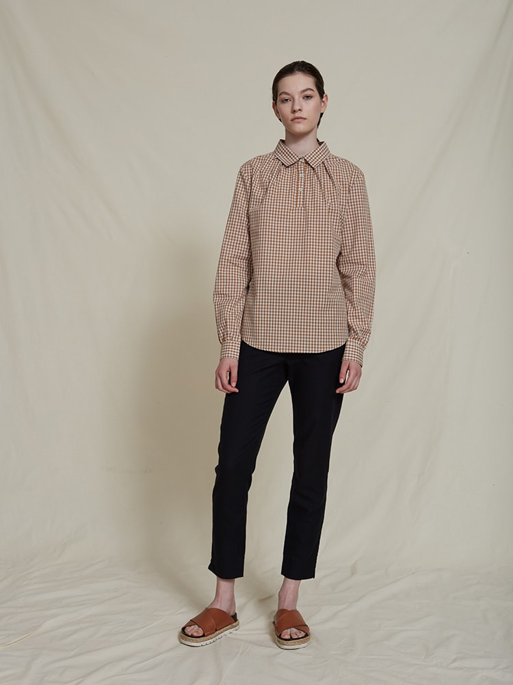 SILAS ORGANIC COTTON SHIRT BLOUSE BEIGECHECKERED schulz by crowd økologisk bomuld skjorte