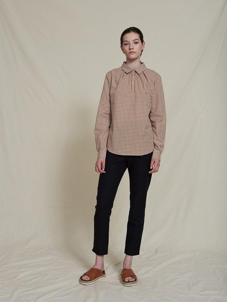 Silas organic cotton shirt blouse beigechekered