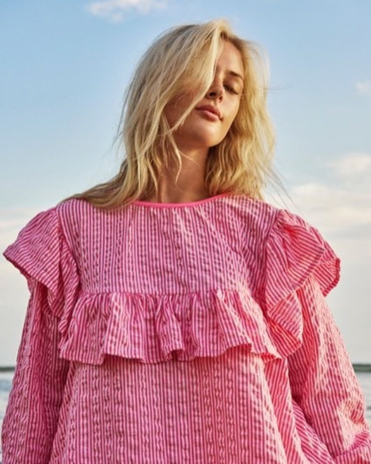 Pink striped sun shirt lus upcycled bæredygtig