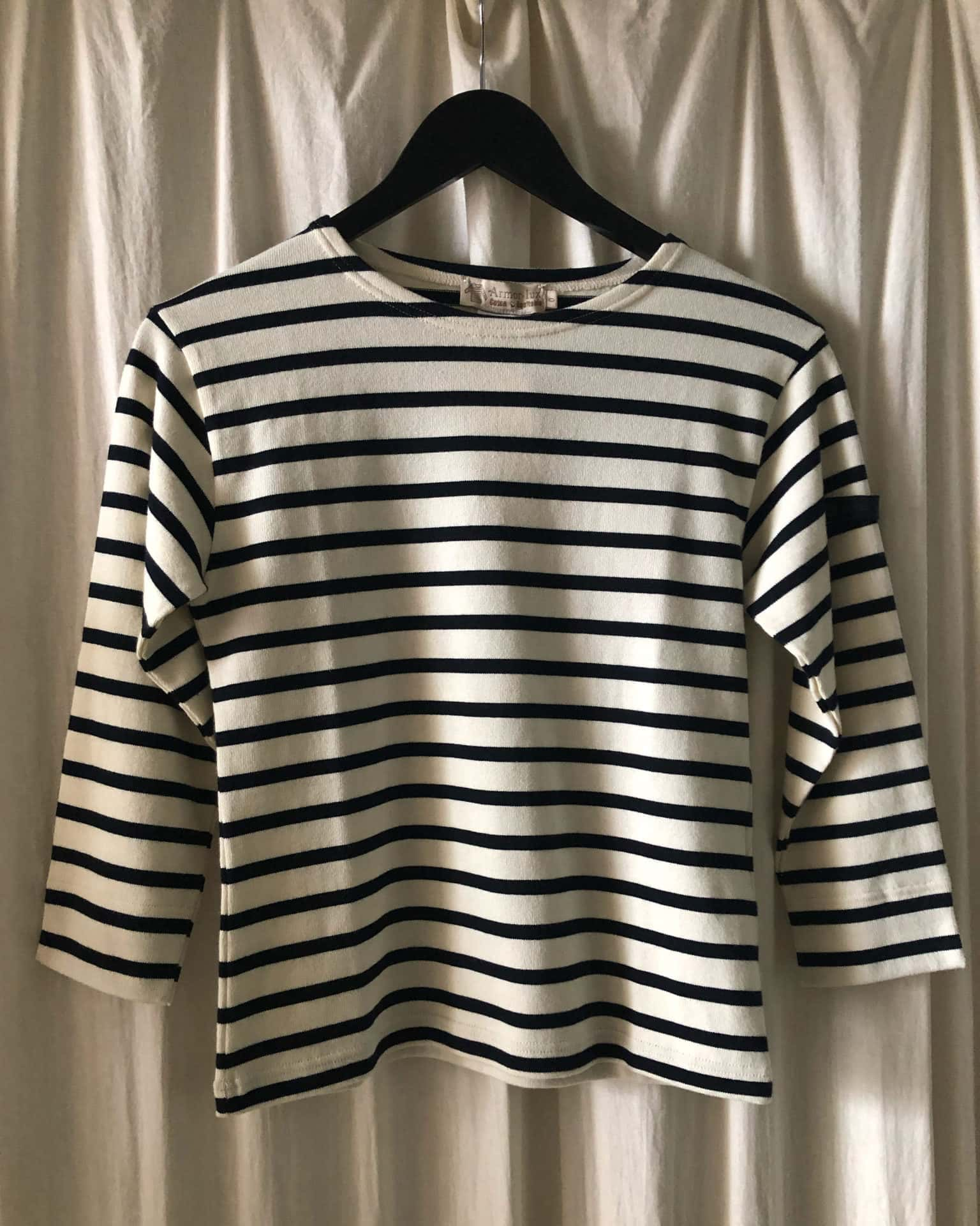 Berton striped blouse ecru and drak navy