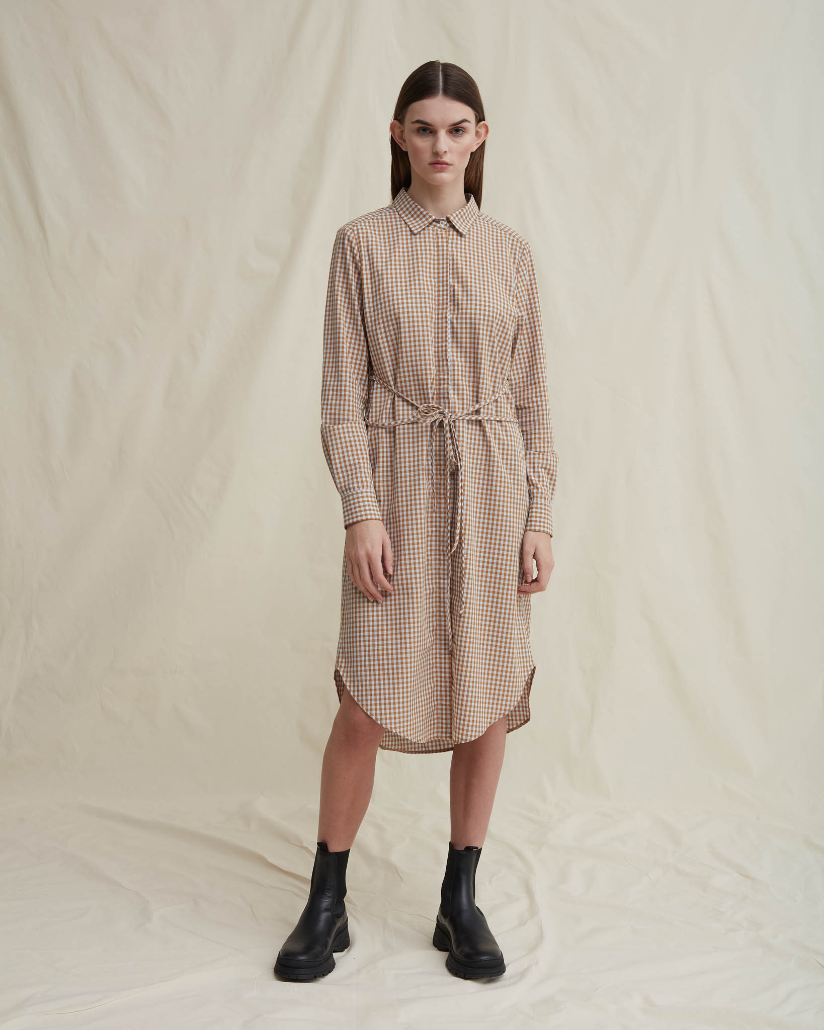 DIPPY ORGANIC COTTON SHIRT DRESS BEIGECHECKERED schulz by crowd økologisk bomuld