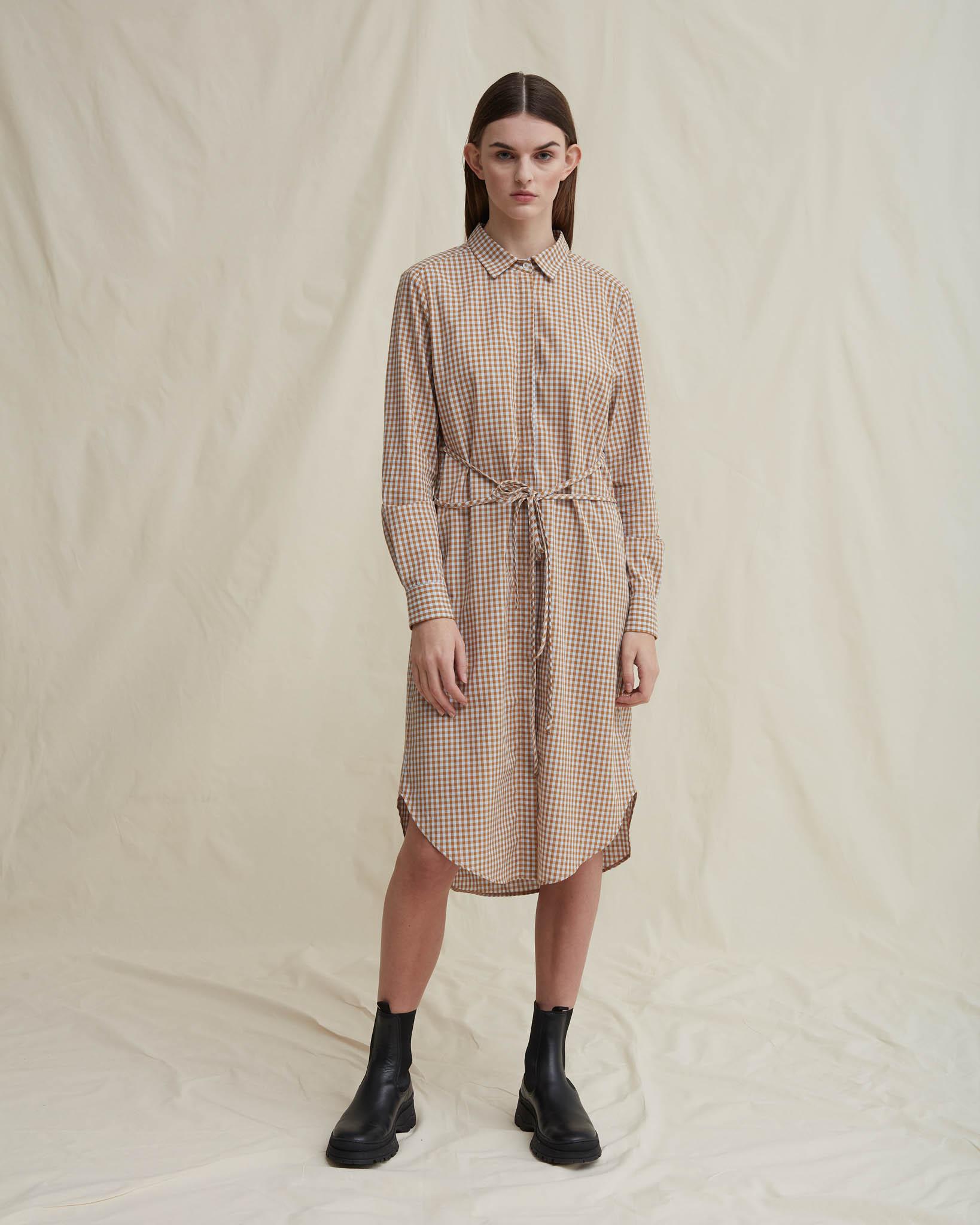 Dippy organic cotton shirt dress beigechekered
