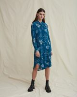 Dippy silk dress leaf