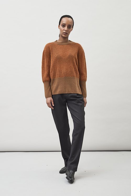Gem material mix sweater