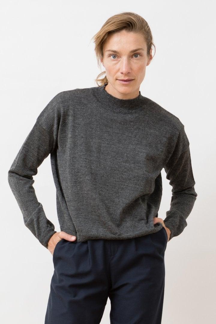 Mock neck knitted arvo sweater slate