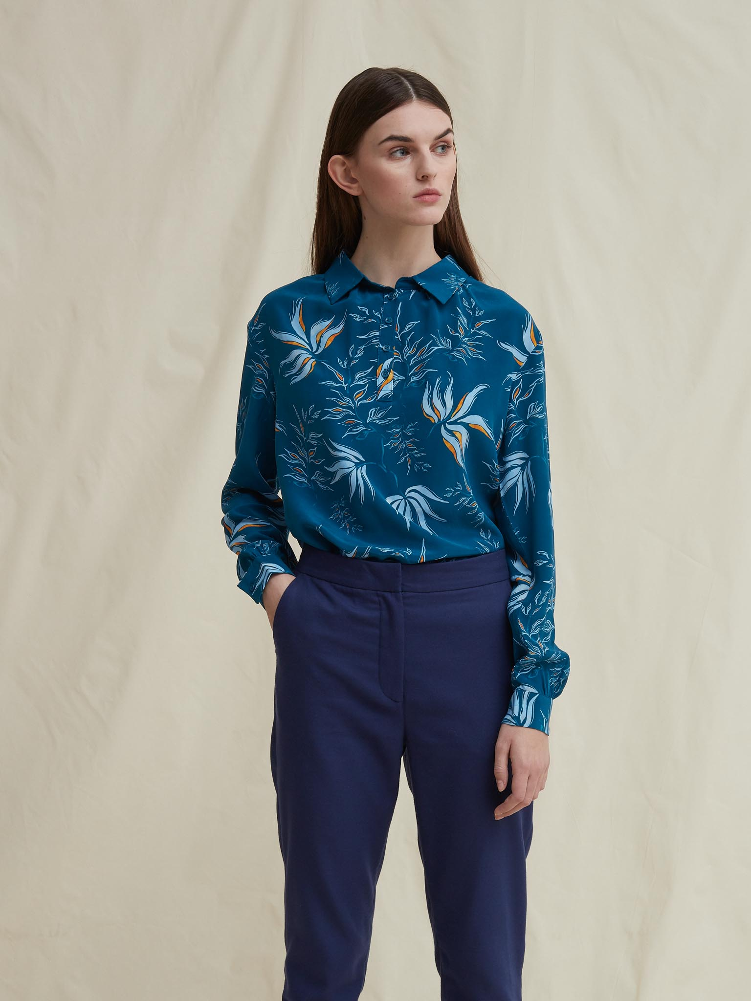 Silas silk shirt blouse leaf schulz by crowd