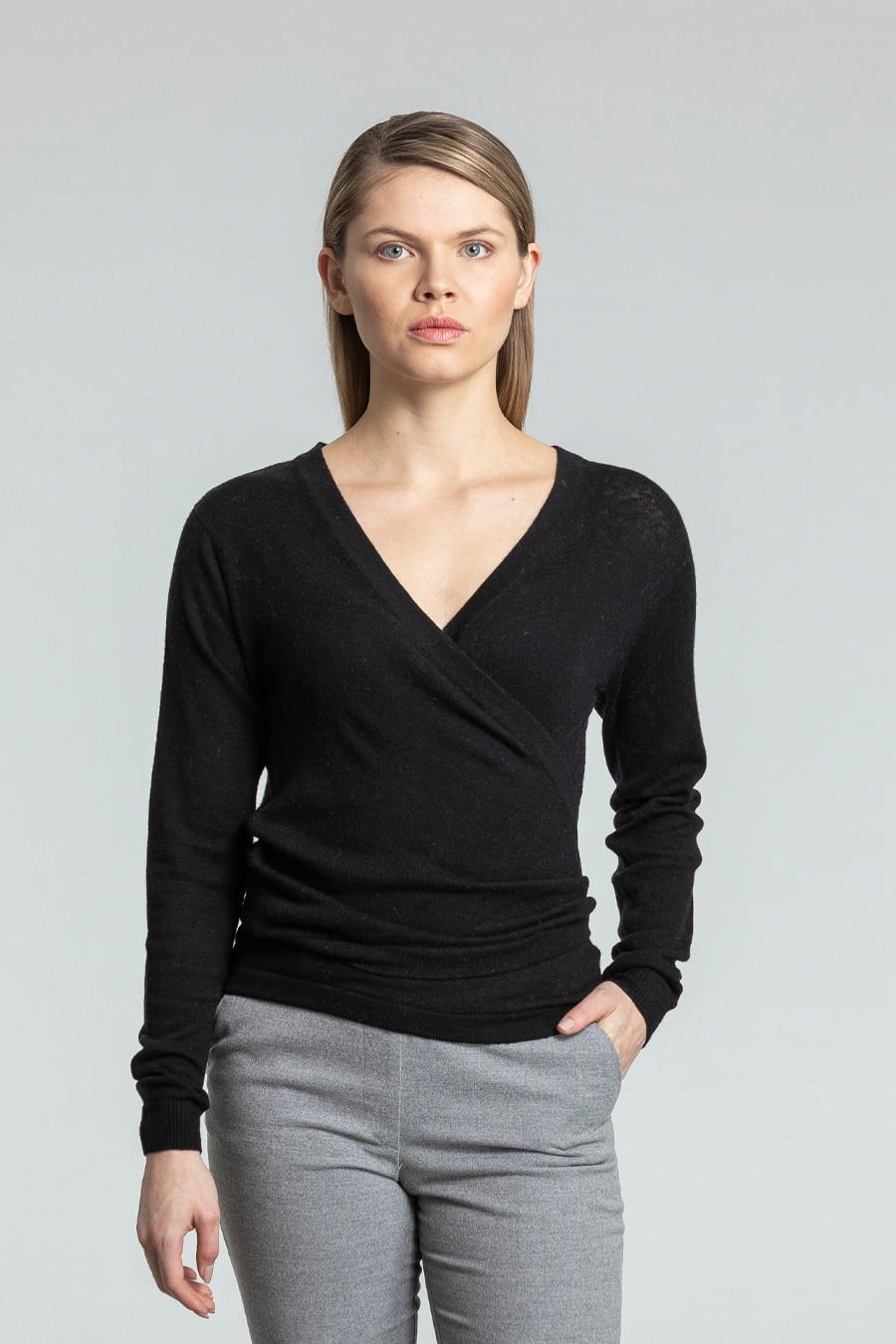 Merino wrap cardigan black