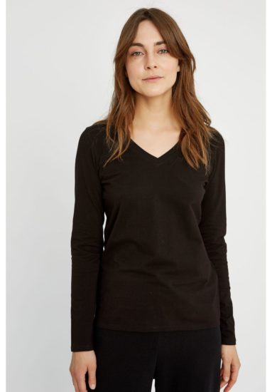 Amelie V-neck Top in Black people tree