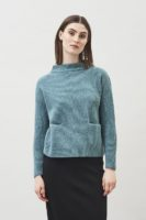 Helga wool sweater with pockets mineral green