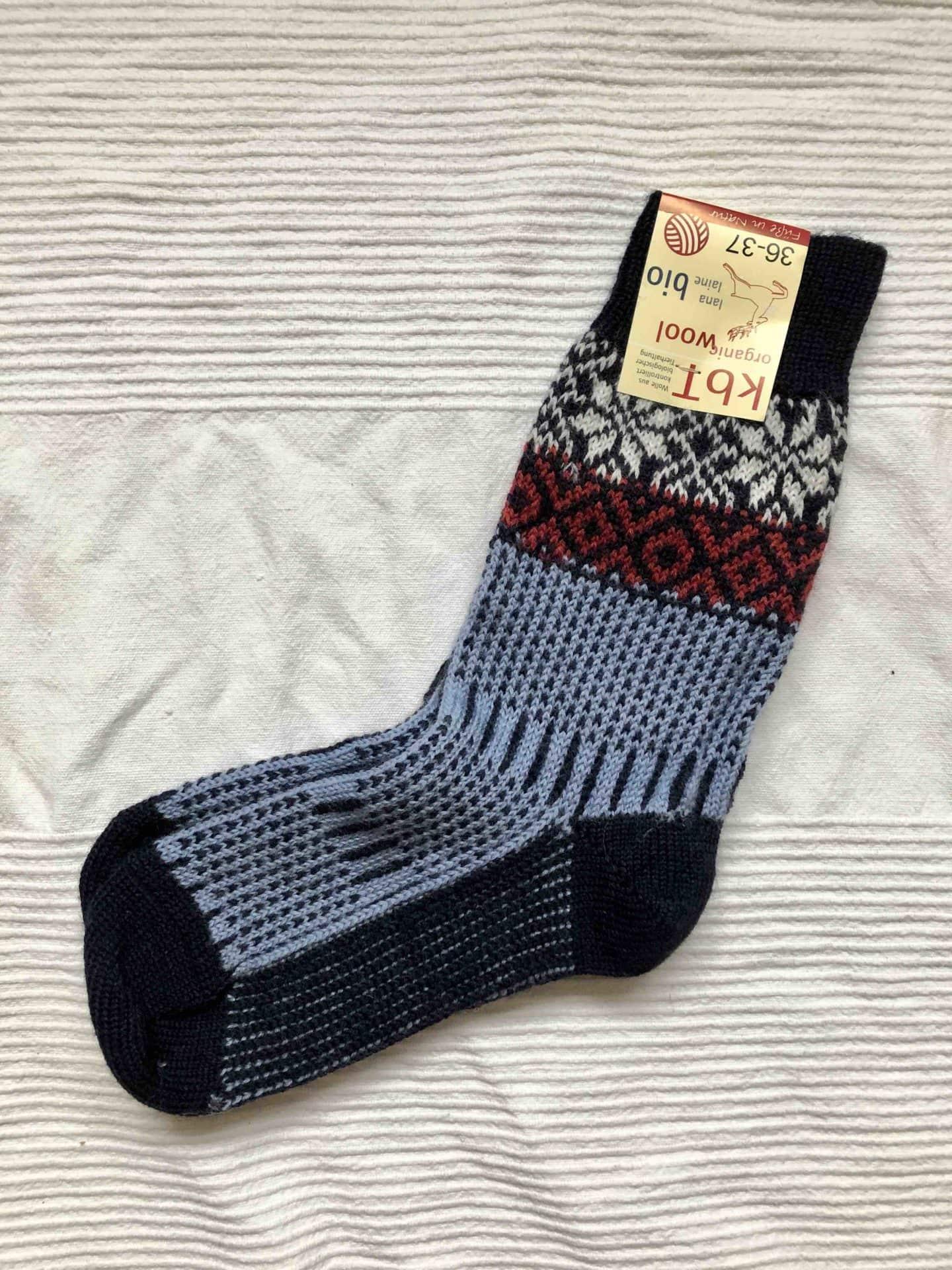 Wool socks blue/white/red