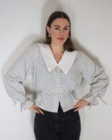 DAPHNE Shirt grey med aftagelig og vendbar krave
