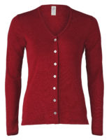 Fine rib cardigan red